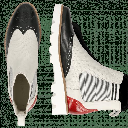 Ankle boots Selina 29 Venice Black Fiesta Nappa Perfo White