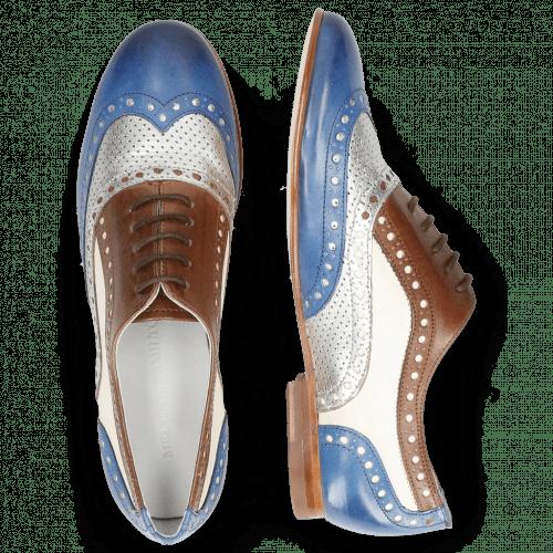 Oxford shoes Sonia 1 Vegas Neptune Blue Talca Perfo Silver Mink White