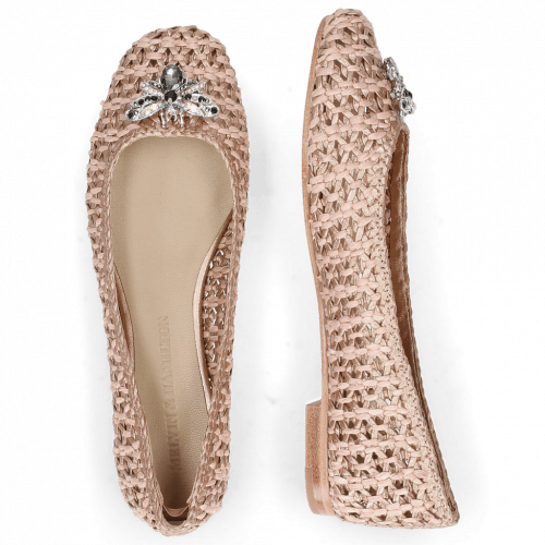 Ballet Pumps Kate 5 Woven Raffia Rose Accessory Bee