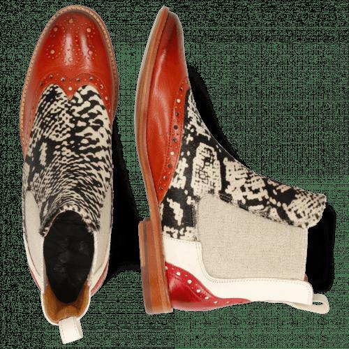 Ankle boots Amelie 5 Imola Earthly White Hairon Snake Black White