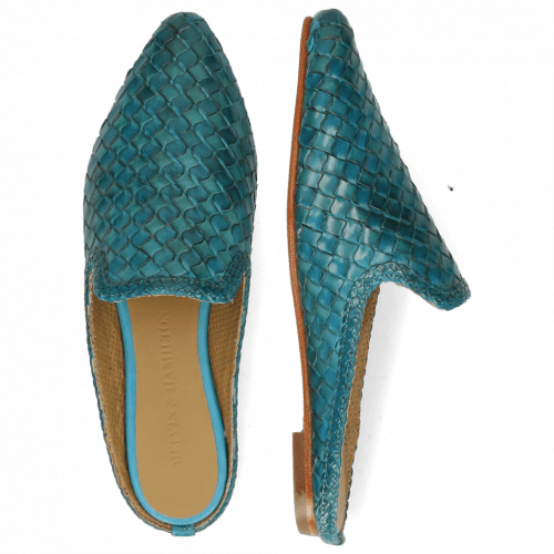 Mules Lydia 2 Woven Scale Turquoise Lining