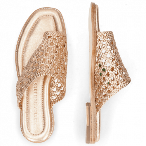 Mules Elodie 16 Woven Talca Rose Gold