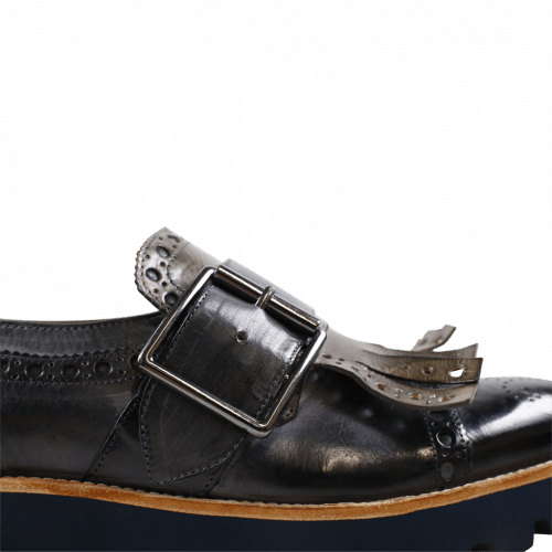 Monks Amelie 52 London Fog Kilty Smoke Buckle Gunmetal 543 Blue