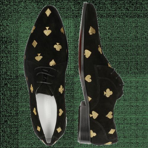 Derby shoes Toni 1 Suede Black Embroidery Heartpeak