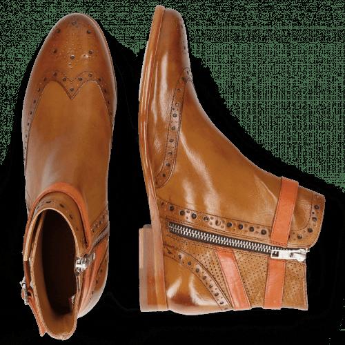 Ankle boots Selina 25 Pisa Perfo Cognac Strap Orange