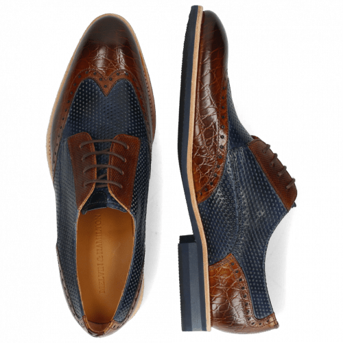 Derby shoes Bobby 1 Croco Wood Perfo Marine Dice