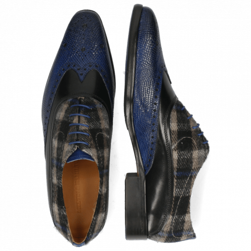Oxford shoes Lewis 4 Python Electric Blue Black Textile Crayon