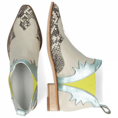Ankle boots Marlin 44 Snake Off White Nappa Glove Tropical Sea Idra Turquoise