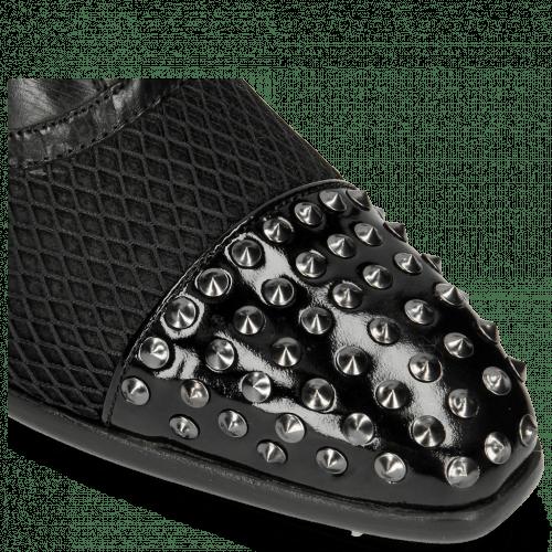Oxford shoes Lance 23 Patent Black Net Black Rivets