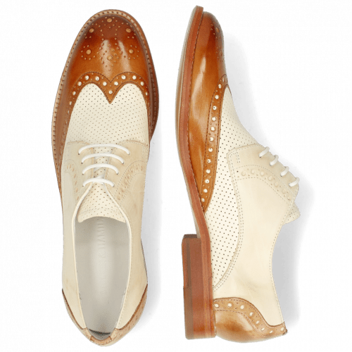 Derby shoes Amelie 3 Vegas Tan Perfo White Nude Sand