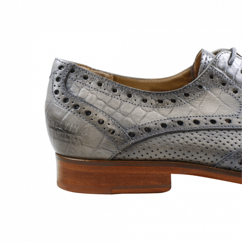 Derby shoes Jessy 6 Baby Croco Morning Grey Crust Perfo Morning Grey LS Natural