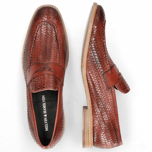 Loafers Eddy 44  Haring Bone Weave Ruby Lining Nappa