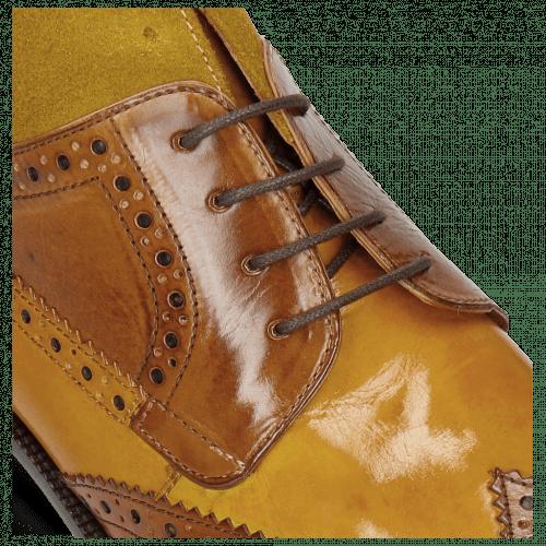 Ankle boots Jeff 34 Cognac Yellow Dark Finishing Sand Suede Pattini Mastic