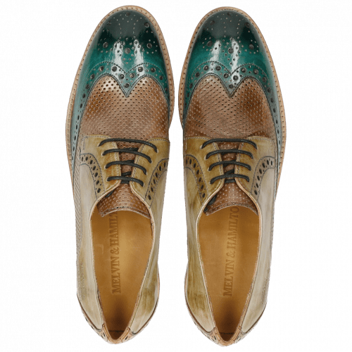 Derby shoes Amelie 3 Sweet Water Perfo Powder Verde Chiaro Arancio