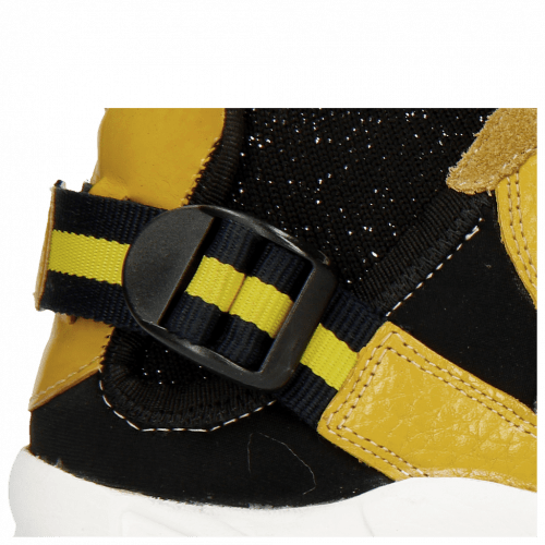 Sneakers Mandy 1 Milled Yellow Cromia Gold Nappa Black Suede Pattini Mustic