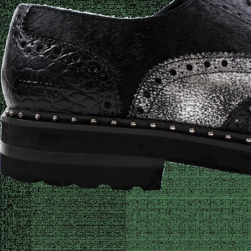 Oxford shoes Matthew 6 Big Croco Afix Hair On Black Black Graphite Black Aspen EVA Black Rivets