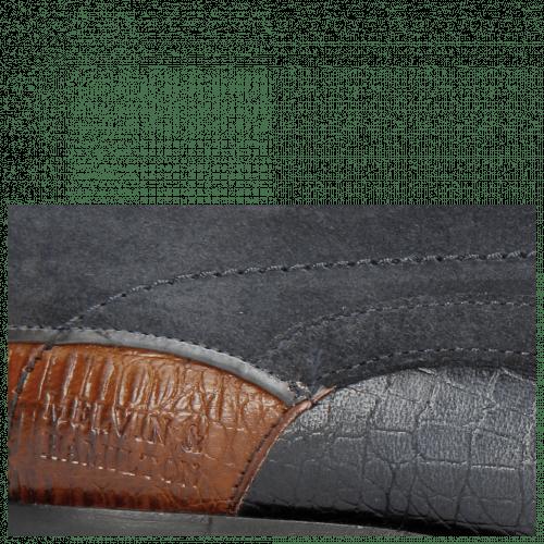 Derby shoes Rico 14 Venice Baby Croco Navy Wood Suede Pattini Navy