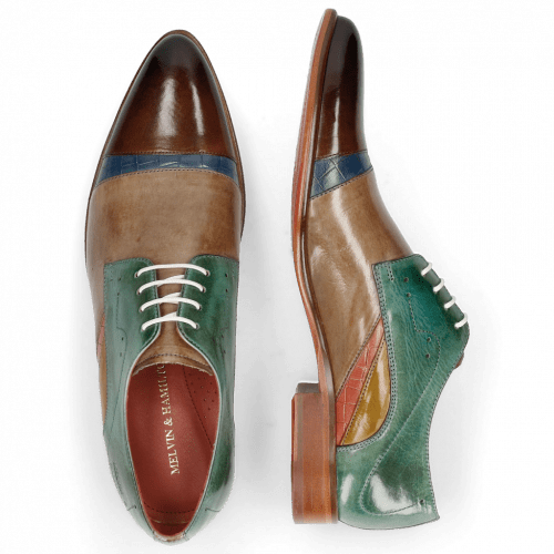 Derby shoes Toni 39 Nougat Crock Wind Digital Earthly Olivine Bio Algae