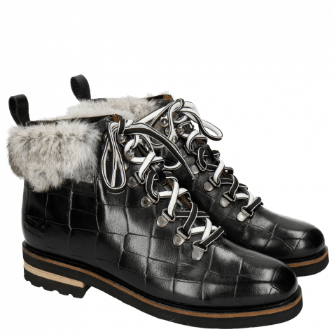 Ankle boots Eliza 2 Turtle Black Fur Minky Greytone