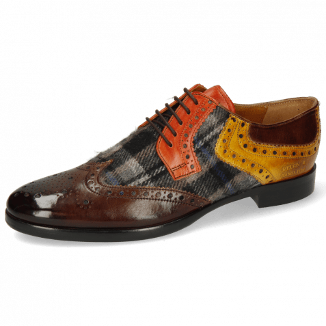 Derby shoes Clint 19 Mid Brown Textile Crayon Winter Orange Indy Yellow