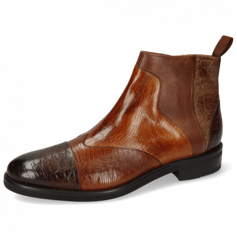 Ankle boots Henry 29 Croco Mid Brown Lizzard Wood Baby Croco Tan Dice Mink