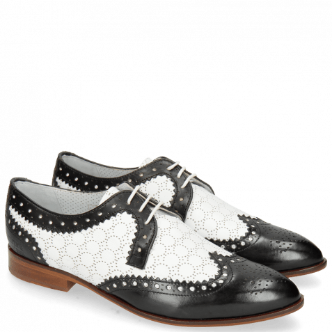 Derby shoes Jessy 53 Black Nappa Perfo White Lining Nappa Flex