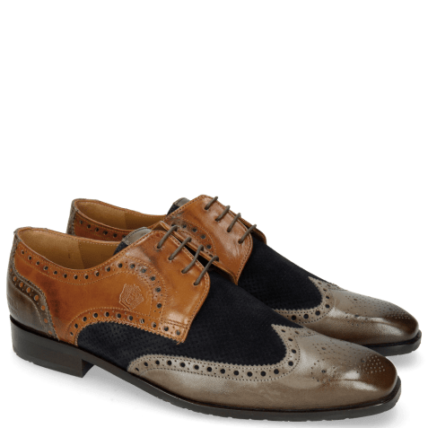 Derby shoes Xander 4 Rio Stone Wood Suede Pattini Perfo Navy