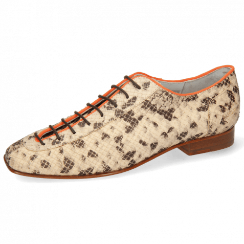 Oxford shoes Sofia 6  Snake Sand Binding Lycra