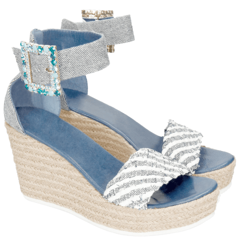 Sandals Abby 2 Denim Light Blue Raffia White