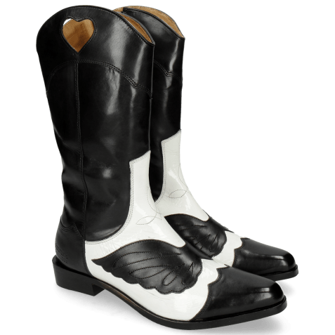Boots Marlin 36 Black Soft Patent White Stitching Black