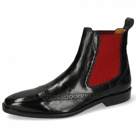Ankle boots Alex 9 Remo Black Elastic Ribbed Red