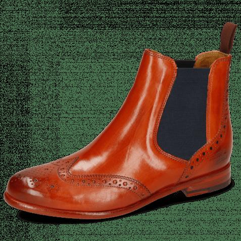 Ankle boots Selina 6 Orange Elastic Navy Lining
