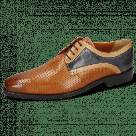 Derby shoes Alex 10 Berlin Perfo Cognac Sand Navy