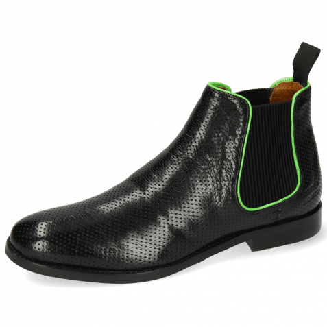 Ankle boots Amelie 4 Pavia Perfo Black Binding Fluo Green
