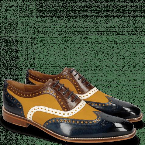 Oxford shoes Leonardo 21 Navy Canvas Kumquat Vegas White Dark Brown