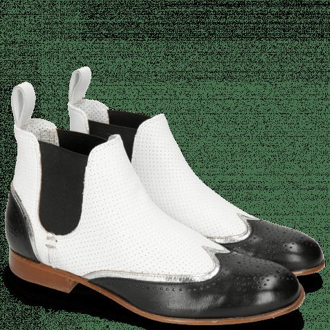 Ankle boots Sally 19 Nappa Glove Black Cromia Nickel Nappa Perfo White