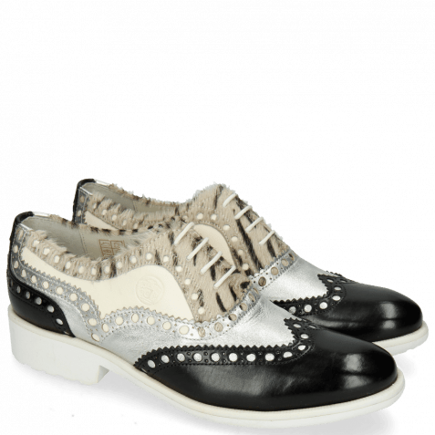 Oxford shoes Amelie 87 Vegas Black Talca Silver Hairon Young Zebra