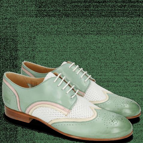 Derby shoes Sally 15 Verona Tropical Sea Ivory Nappa Perfo White