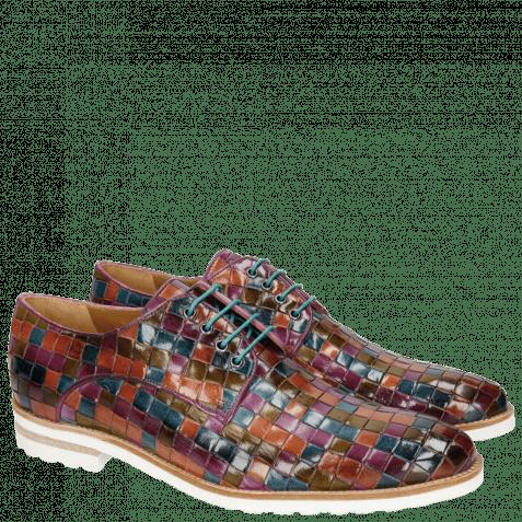 Derby shoes Brad 7 Woven Multi Brandy Bluette Olive EggplanT