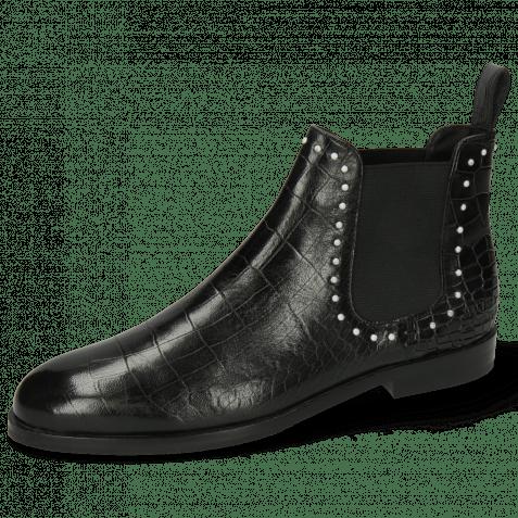 Ankle boots Susan 37 Rio Reptile Black Rivets White