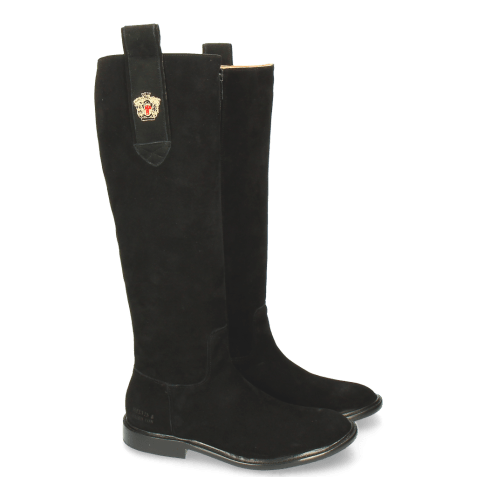 Boots Sally 63 Suede Black Embrodery New HRS Thick