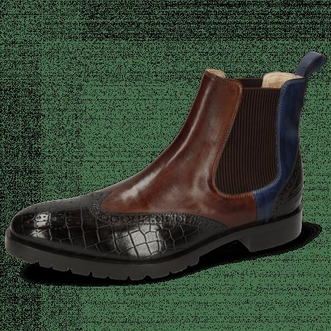 Ankle boots Tom 13 Vegas Crock Espresso Mink Navy