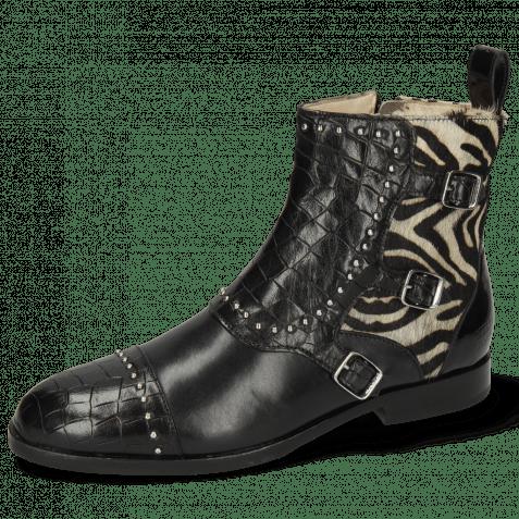 Ankle boots Susan 45 Crock Black Hairon New Zebra