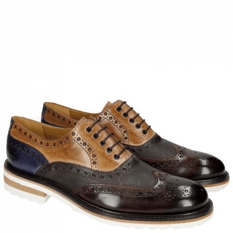 Oxford shoes Trevor 1 Classic Dark Brown Tortora Cobalt Kudu Wax Wine Crip White