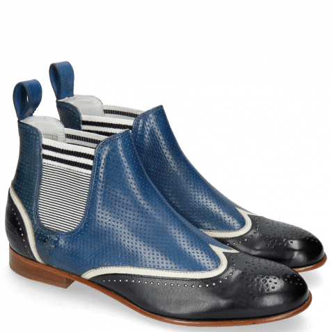 Ankle boots Sally 19 Vegas Navy White Perfo Mid Blue