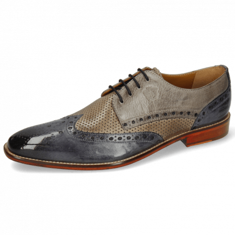 Derby shoes Martin 15 Berlin Moroccan Blue Perfo Stone