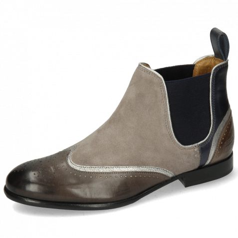 Ankle boots Sally 19 Stone Navy Nappa Aztek Silver Oily Suede Taupe