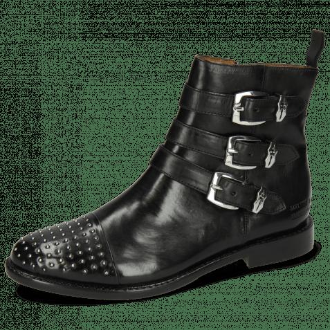 Ankle boots Selina 20 Black Sword Buckle Rivet Nickel