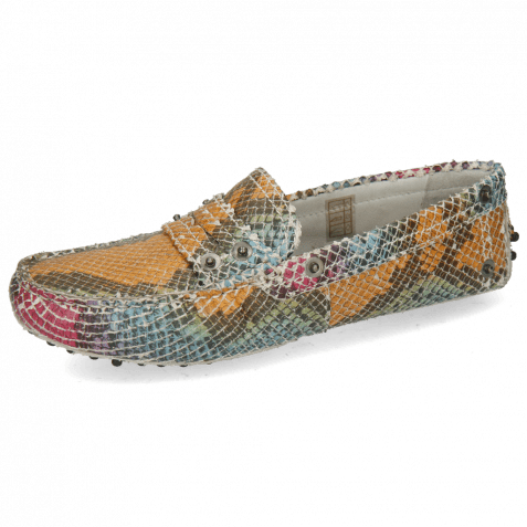 Loafers Caroline 1 Snake Multi Rivets Nickel