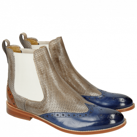 Ankle boots Amelie 5 Electric Blue Perfo Morning Grey Arancio Elastic Off White